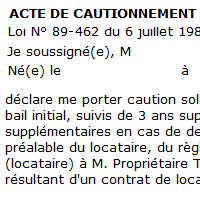 Acte de caution solidaire